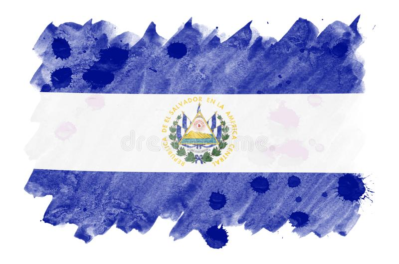 Salwador flaga przedstawia w ciekłym akwarela stylu odizolowywającym na białym tle royalty ilustracja