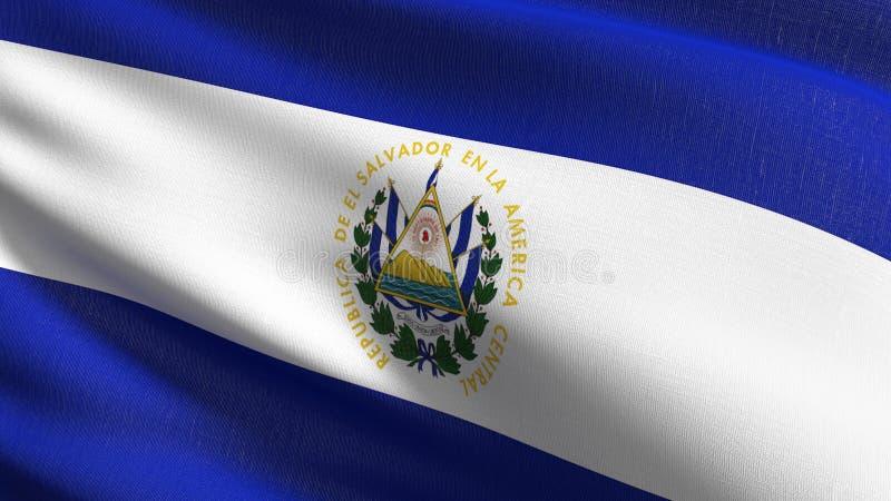 Salwador flagi państowowej dmuchanie w wiatrze odizolowywającym Oficjalny patriotyczny abstrakcjonistyczny projekt 3D renderingu  ilustracji