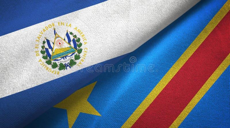 Salwador i Kongo Demokratycznej republiki dwa flag tkaniny płótno ilustracji