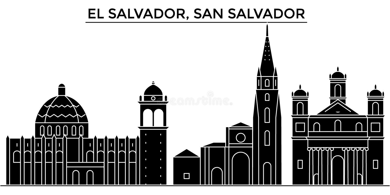 Salwador, San Salvador architektury miasta wektorowa linia horyzontu, podróż pejzaż miejski z punktami zwrotnymi, budynki, odosob ilustracja wektor