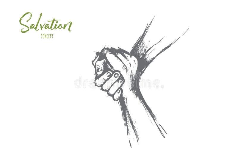 Salwowania pojęcie Ręka rysujący odosobniony wektor royalty ilustracja