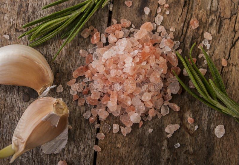 Salz, Knoblauch und Rosmarin auf einem hackenden Brett lizenzfreies stockbild