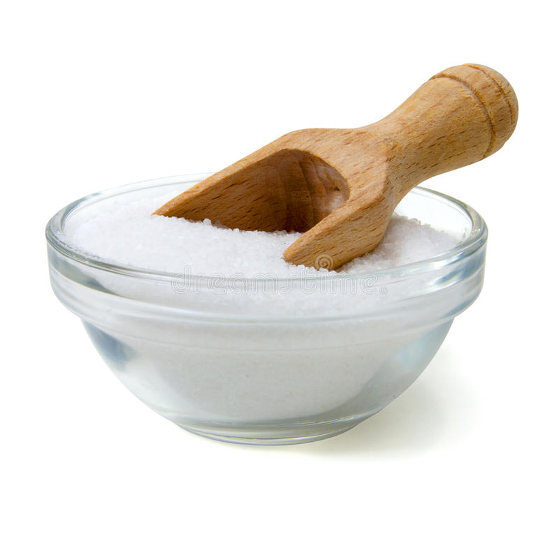 Salz mit hölzerner Schaufel lizenzfreies stockfoto