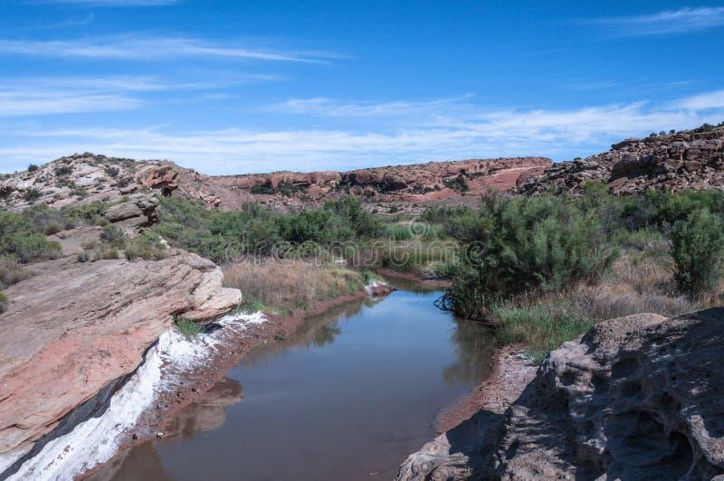 Salz-Tal-Wäsche in den Bögen Nationalpark, Utah lizenzfreie stockbilder
