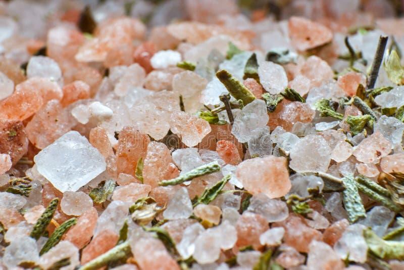Salz und grüne Gewürzbeschaffenheiten lizenzfreies stockbild