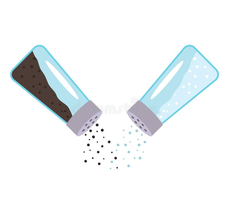 Salz und Pfeffer fallen unten Ein Paar des transparenten Glasschüttels-apparat mit einem Metalldeckel lizenzfreie abbildung