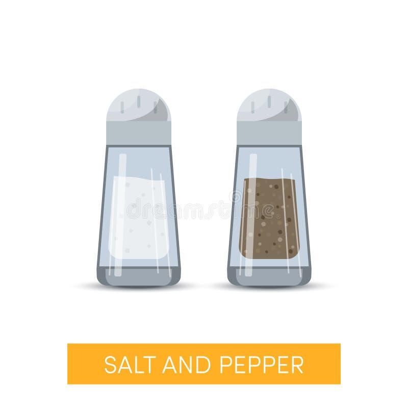 Salz- und Pfeffervektorikonen vektor abbildung