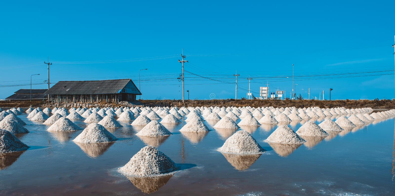 Salz von den Stapel salzig in Thailand stockfotografie
