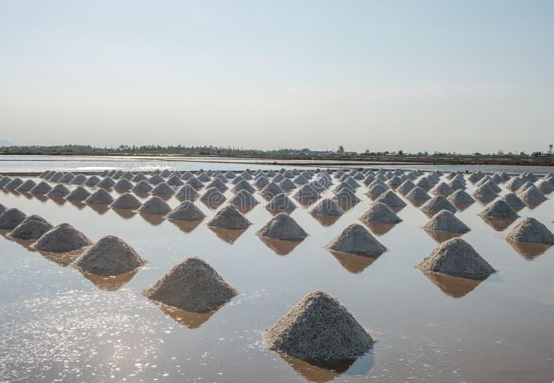 Salz von den Stapel salzig in Thailand stockfoto