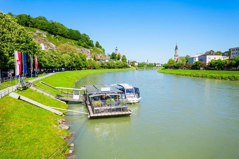 Salzach河在萨尔茨堡 库存图片