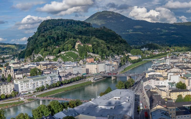 Salzach River with green Hills Background in summer stock images