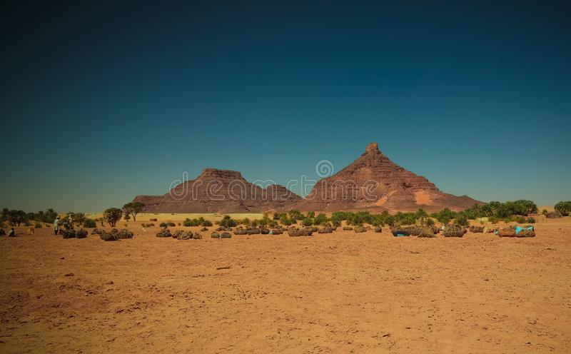 Salzbergbau in der salzigen Demi-Playa, Fada, Ennedi, Tschad lizenzfreie stockfotografie