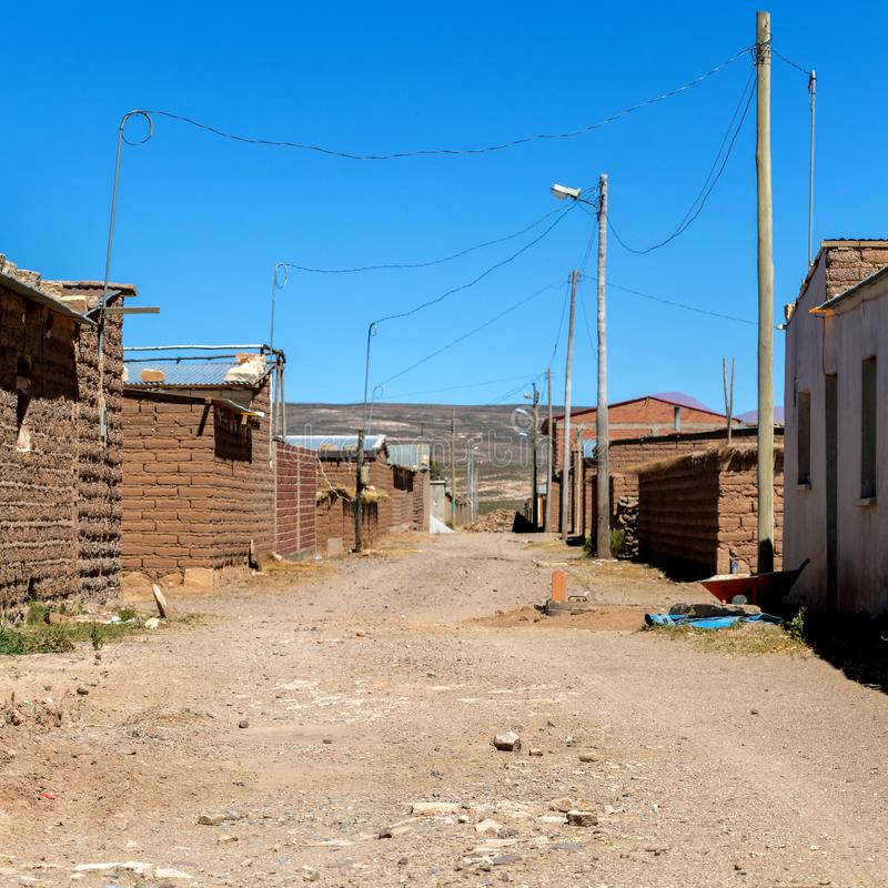 Salzbergmanndorf in Bolivien, Südamerika lizenzfreies stockfoto