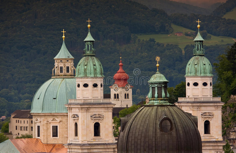 Salzburg. Special view of churches and dome towers of Salzburg stock image