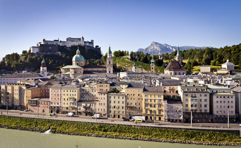 Salzburg, Austria. Salzburg's famous Hohensalzburg Fortress and the old town with Alps in the background stock photo