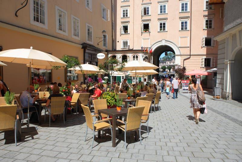 Cafe in Salzburg stock image