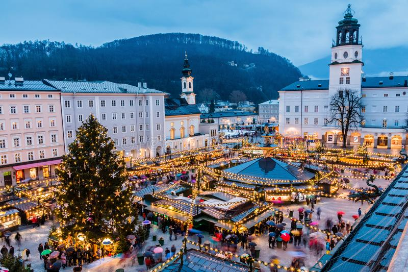 Salzburg, Austria. Christmas Market  in the old town of Salzburg. Salzburg, Austria. Christmas Market  in the old town of Salzburg at twilight royalty free stock images