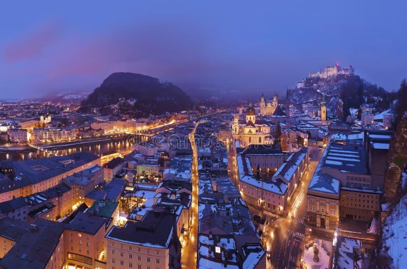 Salzburg Austria en el invierno imágenes de archivo libres de regalías