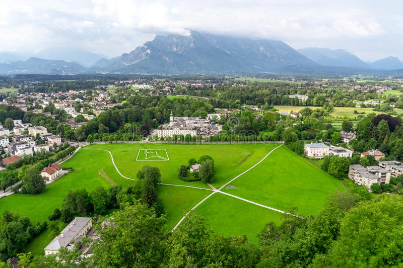 Green landscape, view on Austria Alps and Salzburg stock image