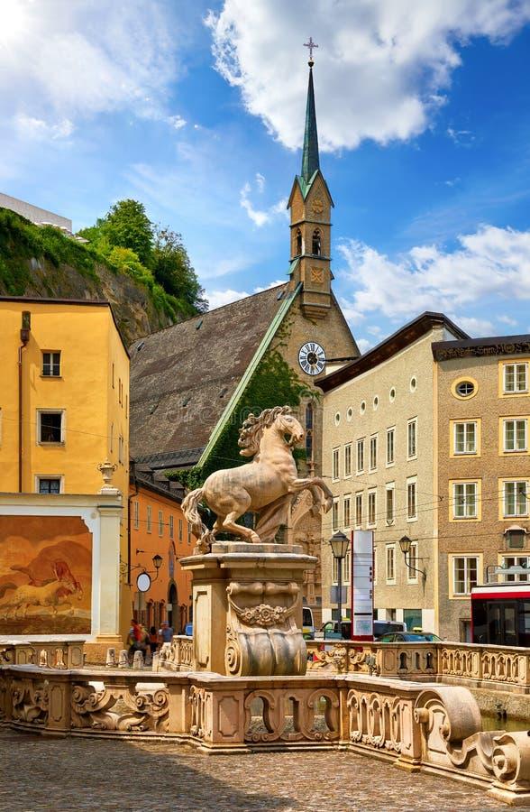 Free Salzburg, Austria. Horse Pond Statue Fountain Monument Stock Images - 192691174