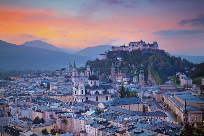 Salzburg, Austria. Image of the Salzburg during autumn sunrise royalty free stock photo
