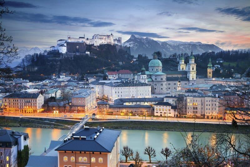 Salzburg, Austria. Image of Salzburg during twilight blue hour stock photography