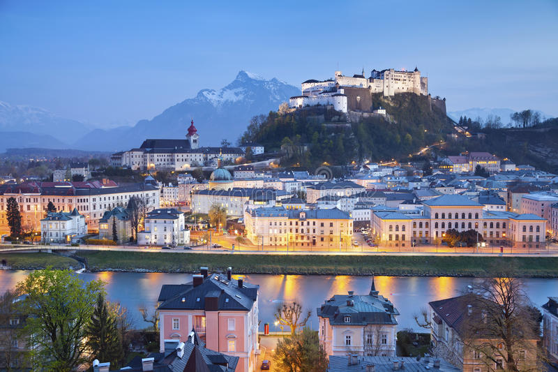 Salzburg, Austria. Image of Salzburg during twilight blue hour royalty free stock photography