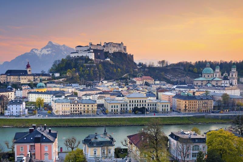 Salzburg, Austria. Image of Salzburg during twilight dramatic sunset stock photos