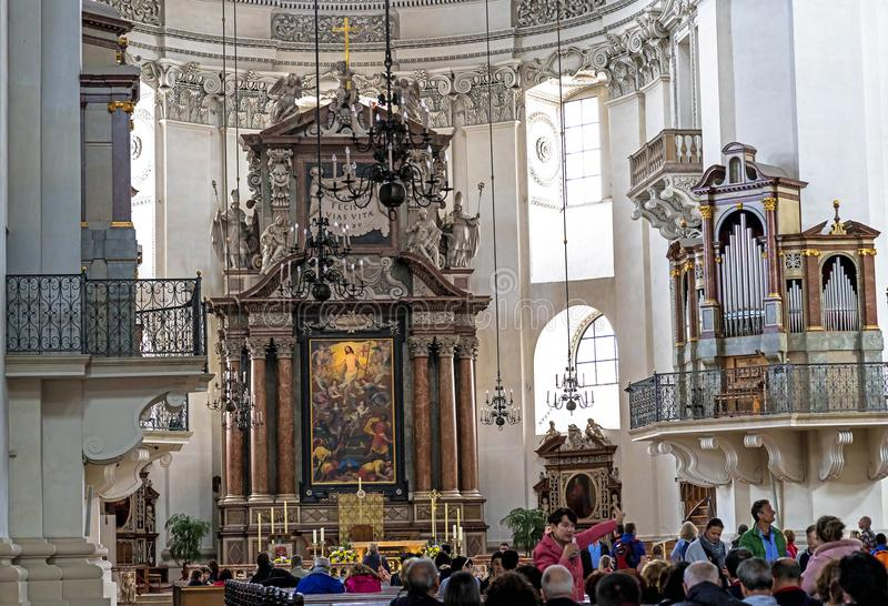 Indoor of Baroque cathedral of the Roman Catholic Archdiocese. Salzburg stock photography