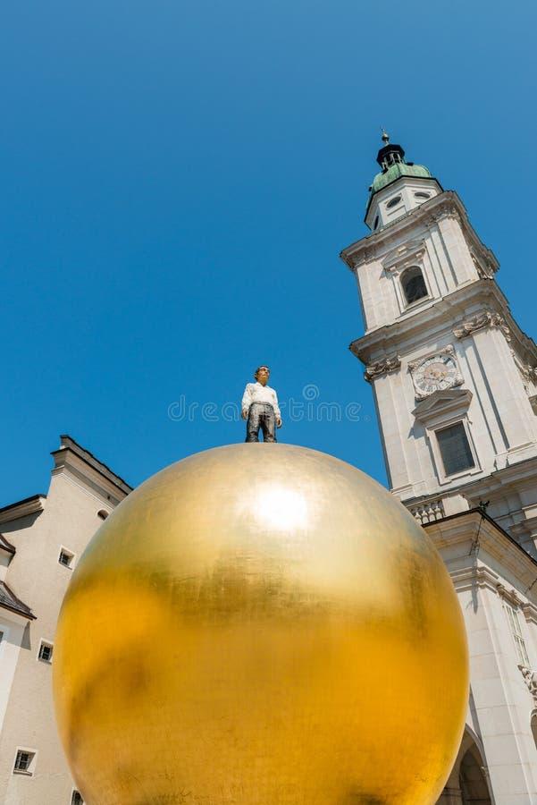 Salzburg, Austria. 19. July 2013: Sphaera is a sclupture by the German Stephan Balkenhol and located at the Kapitelpatz in Salzburg stock image