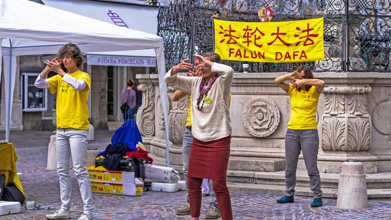Falun Dafa. Traditional Chinese gymnastics combined with elements of Buddhism. royalty free stock photography