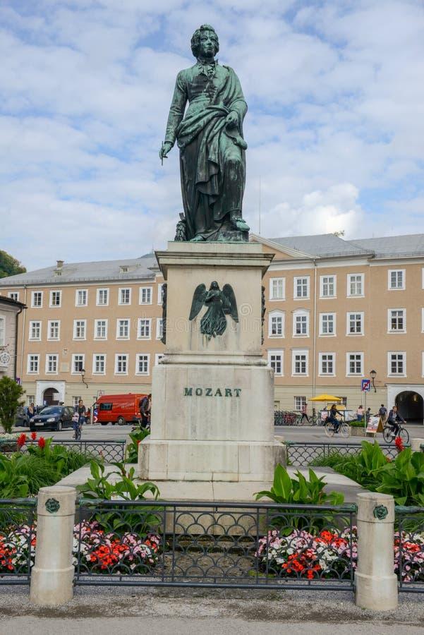 Mozart statue in Mozartplatz in Salzburg on Austria royalty free stock image