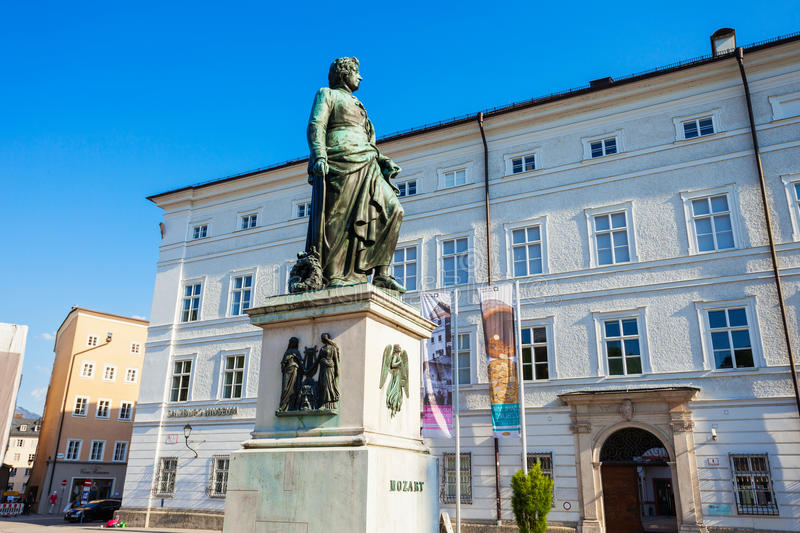 Mozart monument in Salzburg royalty free stock image