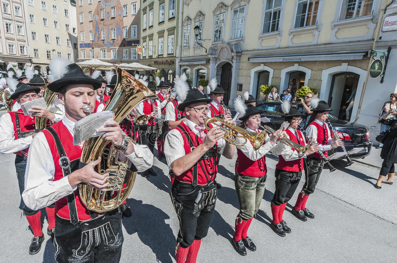 Salzburger Dult Festzug at Salzburg, Austria. SALZBURG, AUSTRIA - MAY 26: Salzburger Dult Festzug parade celebration on May 26, 2012 in Salzburg, Austria royalty free stock images
