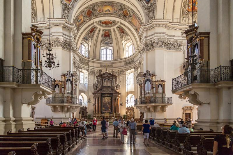 Interior Dome View of Salzburg Cathedral royalty free stock photos