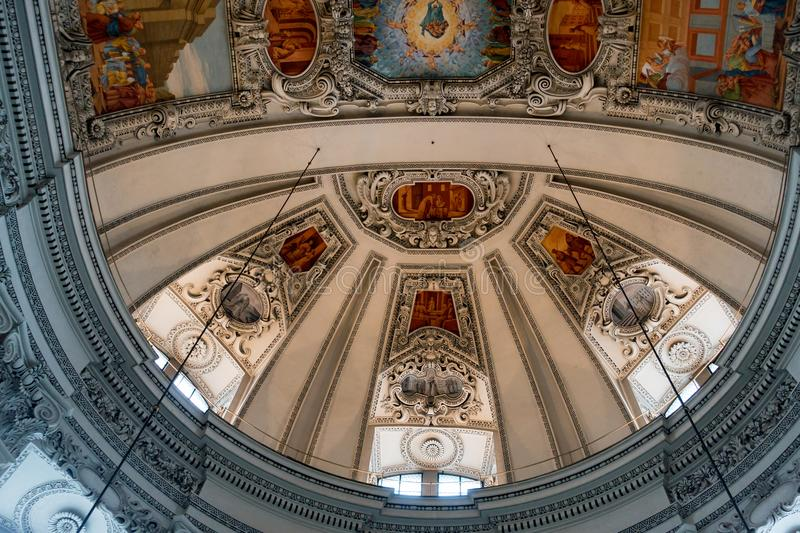 SALZBURG/AUSTRIA - SEPTEMBER 19 : View of the Ceiling in Salzburg Cathedral in Austria on September 19, 2017 royalty free stock images