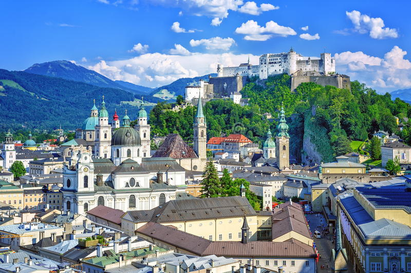 Salzburg, Austria. View over old town and the castle of Salzburg, the birth place of Mozart, Austria royalty free stock images