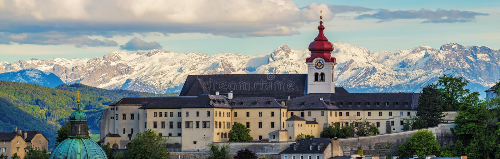 View to Salzburg Skylinel, Austria. Salzburg is an Austrian city on the border of Germany, with views of the Eastern Alps stock photo
