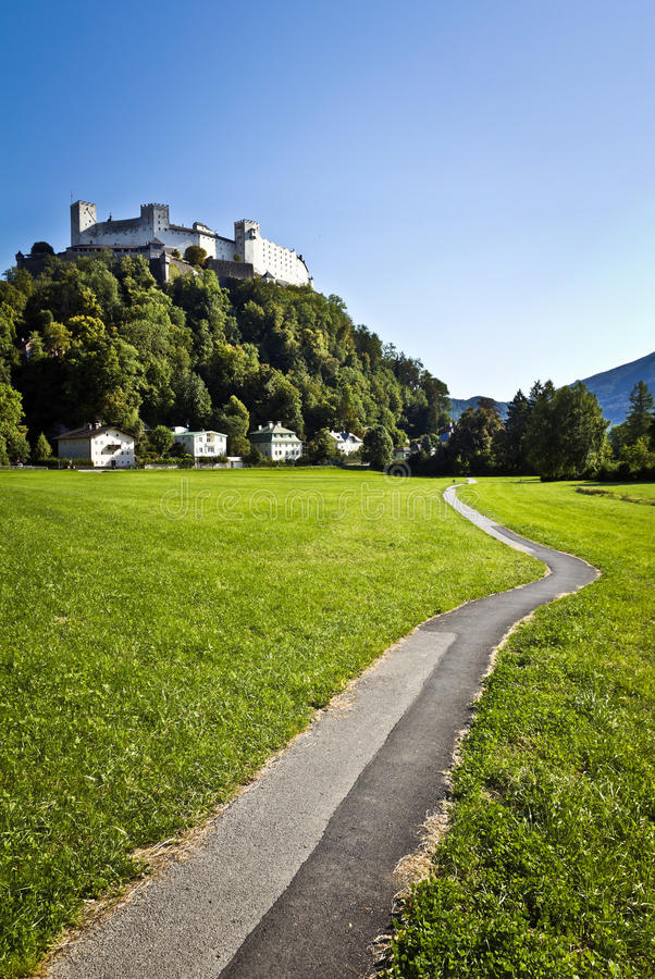 Salzburg Castle, Austria. Festung Hohensalzburg (literally High Salzburg Fortress in German) is a castle in the Austrian city of Salzburg. It sits on royalty free stock photography