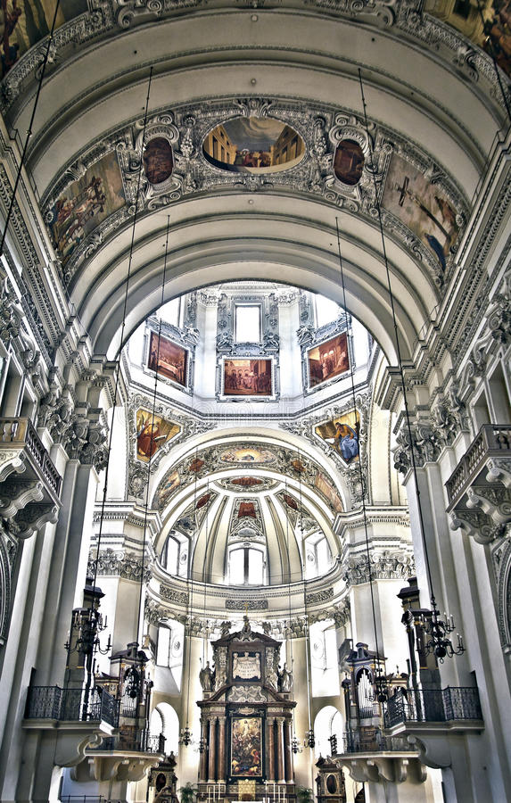 Salzburg Cathedral. The world famous Salzburg Cathedral (Salzburger Dom). HDR image royalty free stock photography
