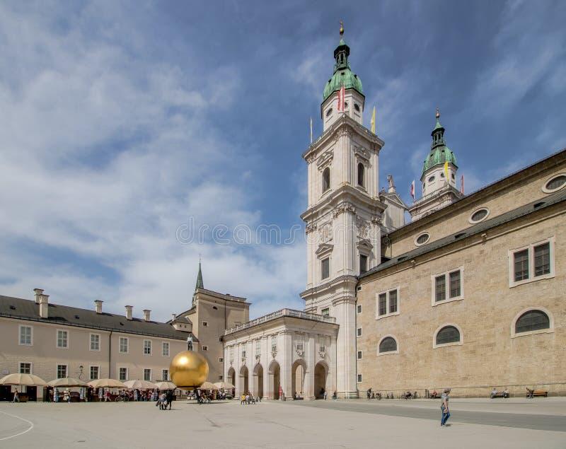 Salzburg Cathedral Dom zu Salzburg in spring, Austria royalty free stock photos