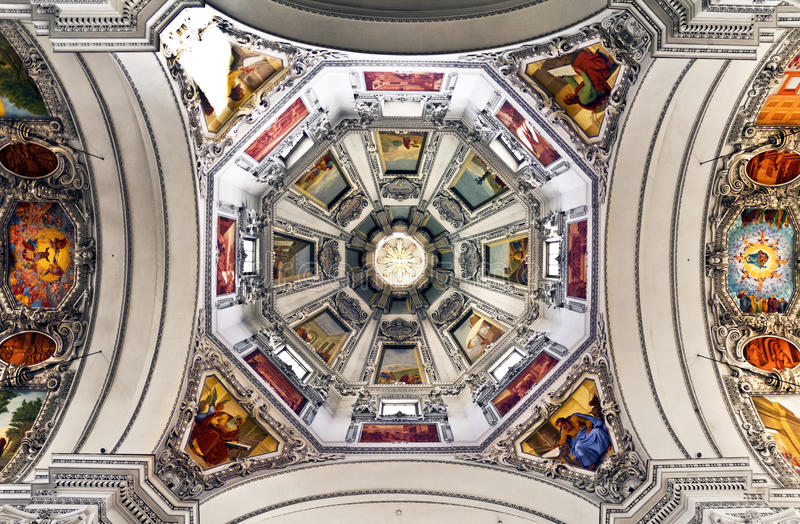 Salzburg Cathedral Dome. The world famous Salzburg Cathedral (Salzburger Dom). Symmetrical view of dome royalty free stock photo