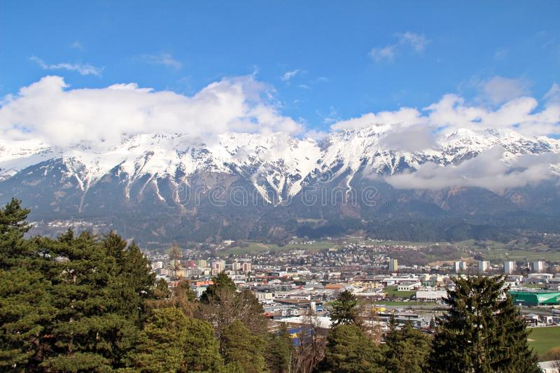 Innsbruck city in birds eyes view royalty free stock images