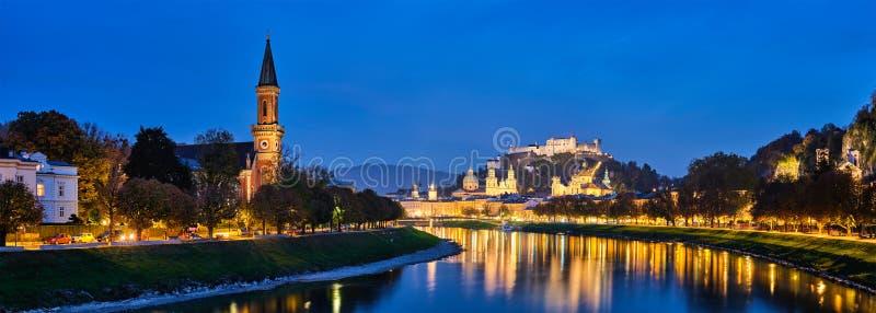 Salzburg city evening panorama stock photography