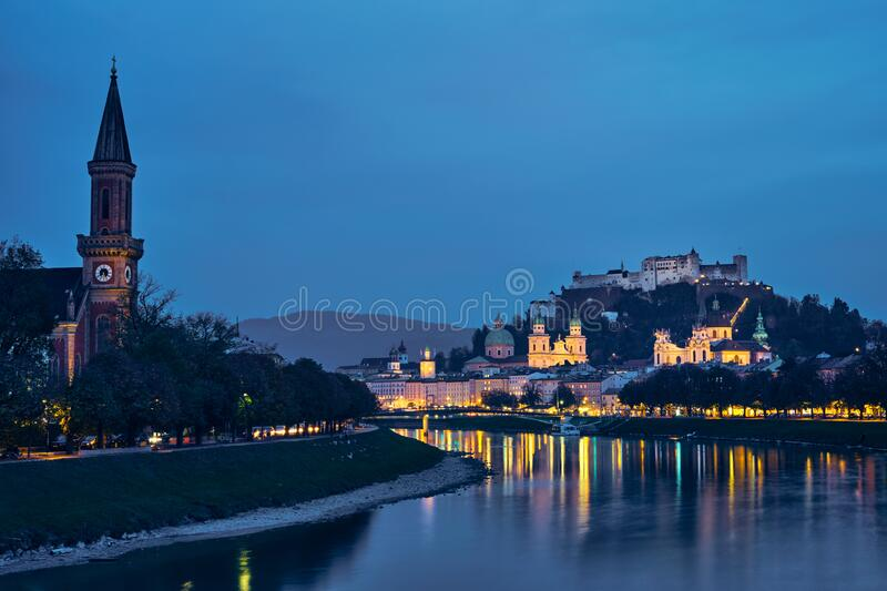 Salzburg city evening view royalty free stock images