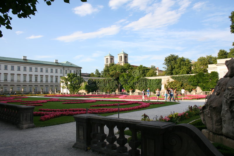 Salzburg - mirabelle garden stock illustration
