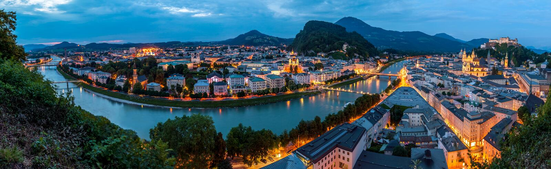 Salzburg at Night, Panorama. Night view of Salzburg in Austria, Europe royalty free stock photo