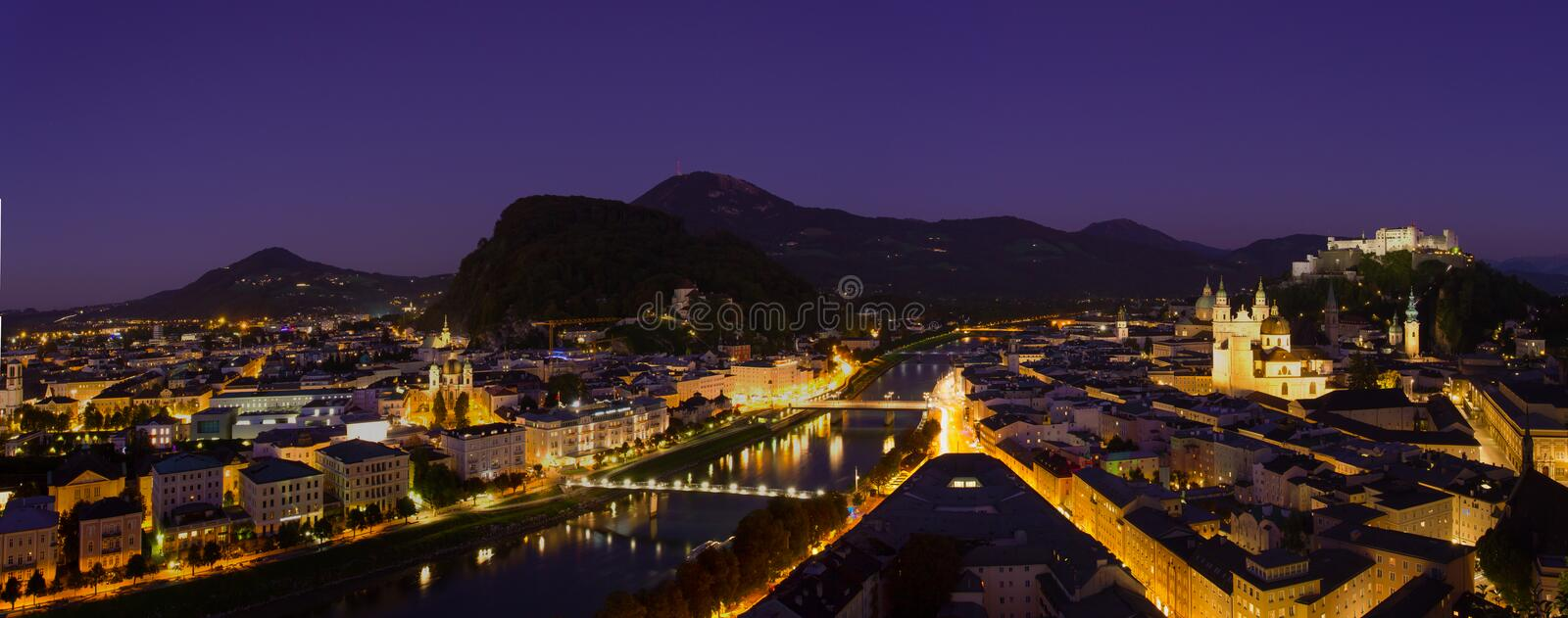Salzburg. Panorama view of Salzburg city in dusk time royalty free stock photography