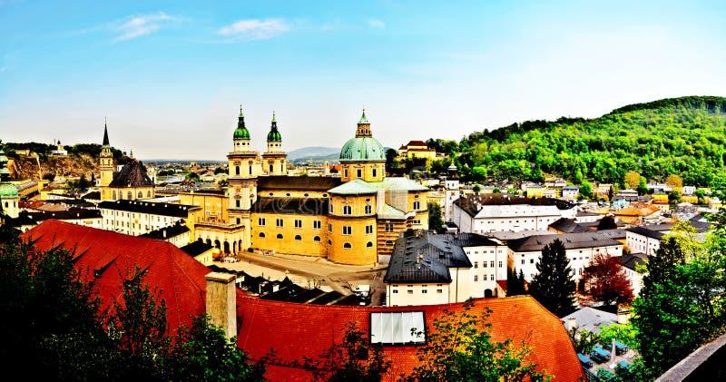 Salzburg - Retro- Postkarte der Farbe lizenzfreie stockbilder
