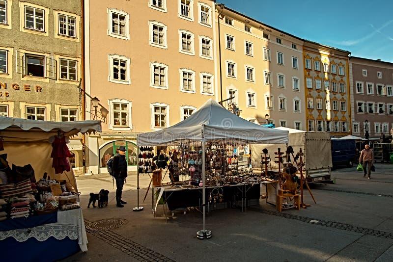 Salzburg, Salzburger Land, Austria - September 11, 2018: Salzburger Brezen market place at the traditional farmer market stock image